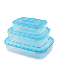 Rectangular Food Containers 3 - Pack - Turquoise