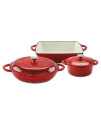 Red Cast Iron Set