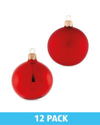Red Glass Baubles 12 Pack