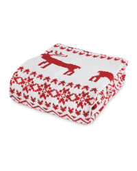 Red Nordic Knitted Throw