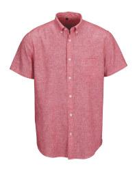 Red Men's Linen Blend Shirt