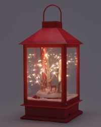 Red Snow Lantern with Standing Deer