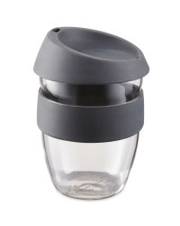 Grey Reuseable Glass Travel Cup