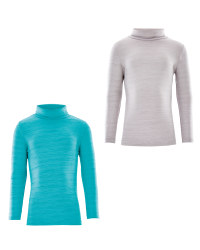 Crane Roll Neck Top Space Dye 2 Pack - Green/Grey