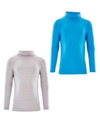 Crane Roll Neck Top Space Dye 2 Pack - Grey/Blue