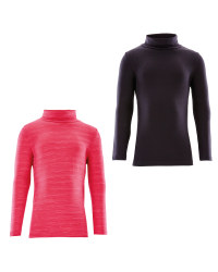Crane Roll Neck Top Space Dye 2 Pack - Pink/Black
