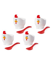 Rooster Egg Cups & Spoons Bundle
