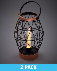 Rose Gold Hexagonal Lantern 2 Pack