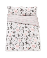 Rose Stripe Double Duvet Set