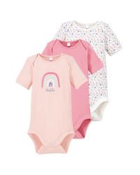 Rose/White Baby Bodysuit 3 Pack