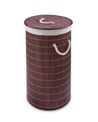 Round Bamboo Laundry Hamper - Dark