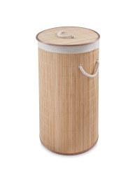 Round Bamboo Laundry Hamper - Light
