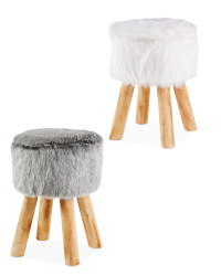 Round Faux Fur Stool