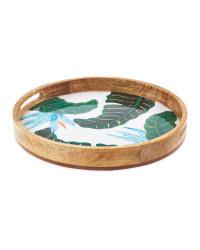 Round Floral Mango Wood Tray