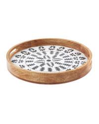 Round Geometric Mango Wood Tray