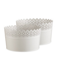 Large Round Grey Flower Pot 2 Pack