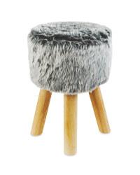 Round Grey Short Faux Fur Stool