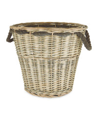 Round Log Basket - Grey