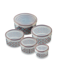 Round Patterned Clip-Lid Containers