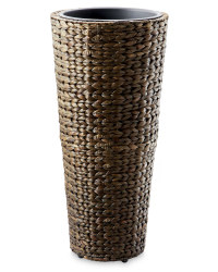 Round Water Hyacinth Planter - Brown