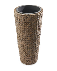 Round Water Hyacinth Planter - Brown