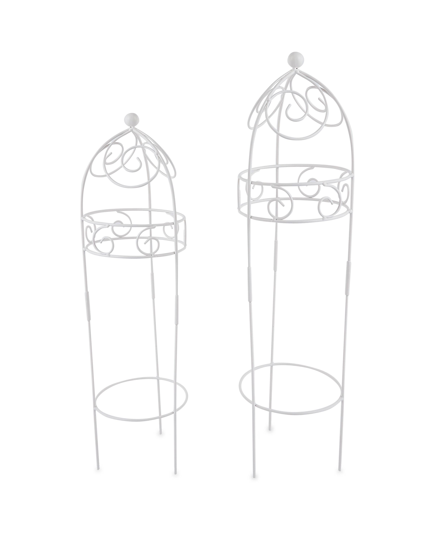 Round White Garden Obelisks 2 Pack