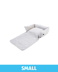 Small Floral Roll Down Pet Bed - Grey