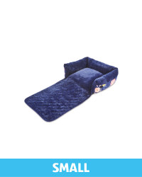 Small Floral Roll Down Pet Bed - Navy