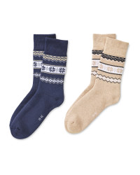 Sand/Navy Mountain Socks 2 Pack