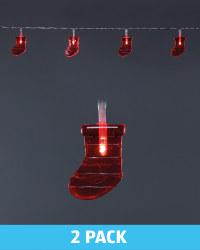 Santa Boot Battery LED Lights 2 Pack