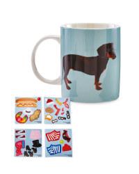 Sausage Dog Dress Up Sticker Mug