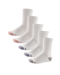 Children's Sports Socks 5 Pack - White & Pink