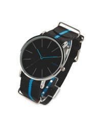 Sempre Black Woven Strap Watch