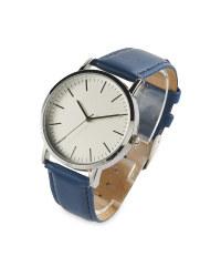 Sempre Blue Leather Look Strap Watch