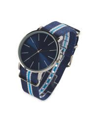 Sempre Blue Woven Strap Watch