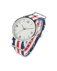 Sempre Blue/White Woven Strap Watch