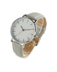 Sempre Grey Leather Look Strap Watch