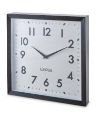 Sempre Large Metal Wall Clock - Black/White