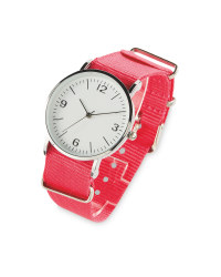 Sempre Pink Woven Strap Watch