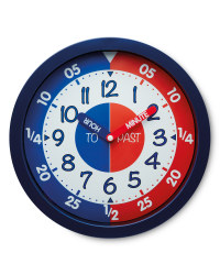 Sempre Time Teaching Wall Clock - Navy/Red