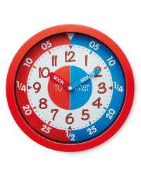 Sempre Time Teaching Wall Clock - Red/Blue
