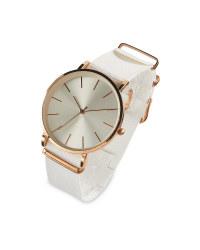 Sempre White Woven Strap Watch