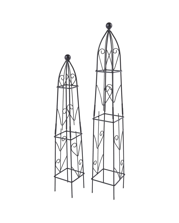Square Black Garden Obelisks 2 Pack