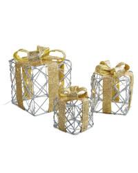 Set of 3 LED Parcels - Gold