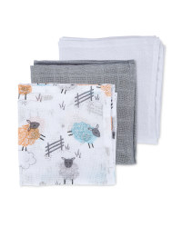 Sheep Muslin Cloths 3 Pack