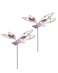 Silver Dragonfly Garden Stake 2 Pack