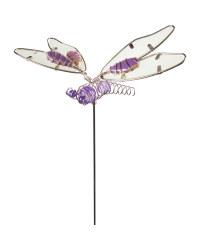 Silver Dragonfly Garden Stake