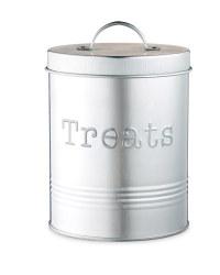 Silver Pet Treat Storage Tin