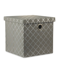 Silver Storage Cube With Lid