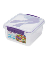 Sistema® Lunchbox with Cutlery - Purple